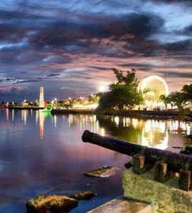 Chetumal de noche luces de la ciudad